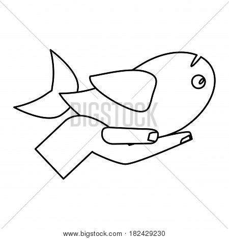 hand with fish miracle jesus christ religious outline vector illustration eps 10
