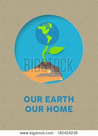 Earth Day Paper Cut Nature Plant And Text Quote