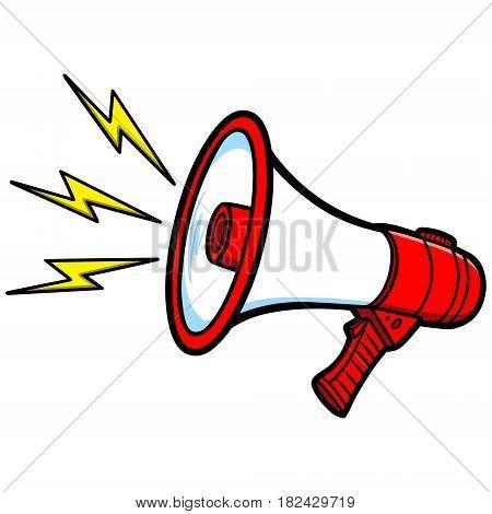A vector illustration of a loud Bullhorn.