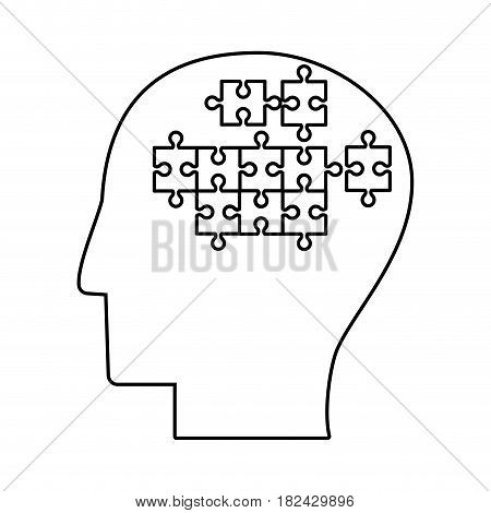 human head puzzle creative outline vector illustration eps 10