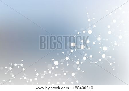 Structure molecule and communication. Dna, atom, neurons. Scientific concept for your design. Connected lines with dots. Medical, technology, chemistry, science background. Vector illustration