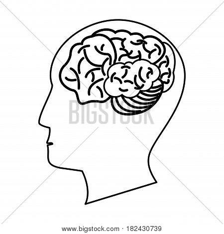 human head brain outline vector illustration eps 10