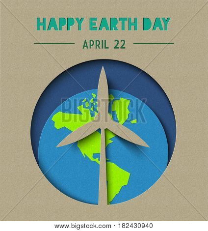 Happy Earth Day Paper Cut Wind Energy Illustration
