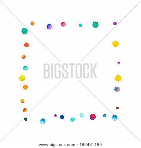 Sparse Watercolor Confetti On White Background. Rainbow Colored Watercolor Confetti Square Abstract