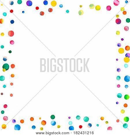 Sparse Watercolor Confetti On White Background. Rainbow Colored Watercolor Confetti Square Scattered