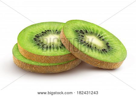 Isolated kiwi fruit. Cut kiwi isolated on a white background with clipping path.