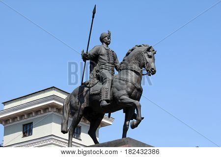 KHARKOV, UKRAINE - APRIL 23, 2011: This is a monument to the mythical founder of the city Cossack Kharko.