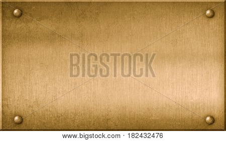 Brass metal plaque 3d illustration