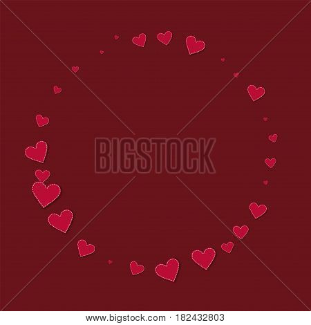 Red Stitched Paper Hearts. Round Shape On Wine Red Background. Vector Illustration.