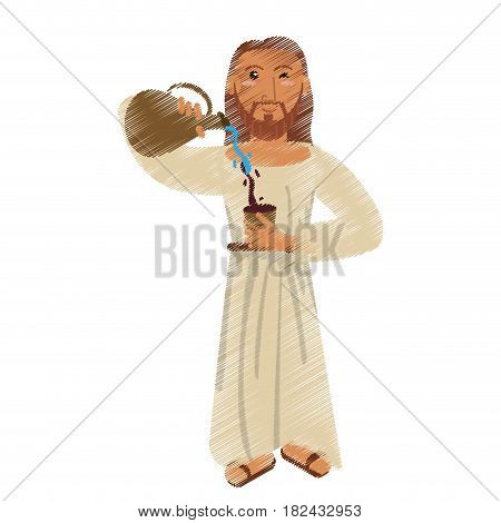 drawing jesus christ miracle water wine design vector illustration eps 10