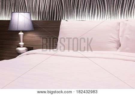 Table Lamp With Bedroom At Hotel Room
