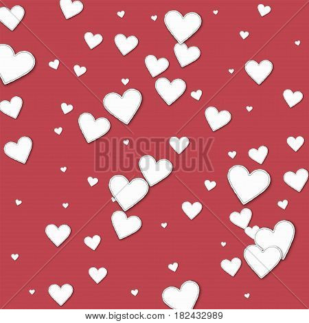 Cutout Paper Hearts. Scatter Vertical Lines On Crimson Background. Vector Illustration.