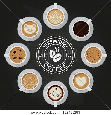 Premium Coffee cups, americano, latte, espresso, cappuccino, macchiato, mocha, art, drawings on coffee crema view top with coffee logo Flat vector design