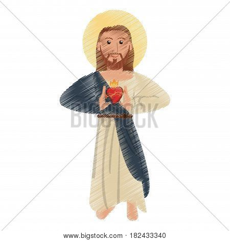 drawing jesus christ sac heart devotion religious vector illustration eps 10