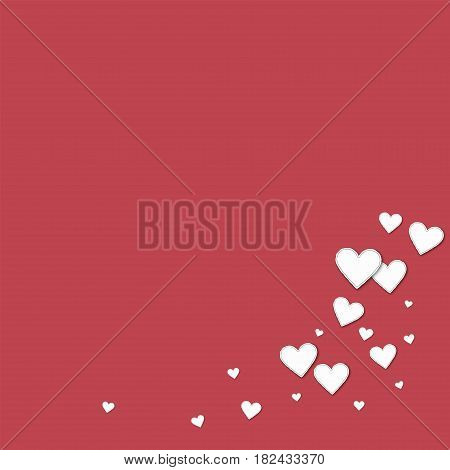 Cutout Paper Hearts. Bottom Right Corner On Crimson Background. Vector Illustration.