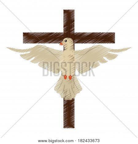 drawing holy spirit cross vector illustration eps 10