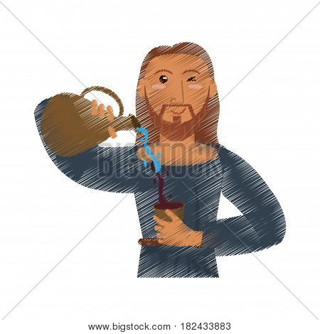 drawing jesus christ miracle water and wine vector illustration eps 10