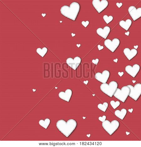 Cutout Paper Hearts. Right Gradient On Crimson Background. Vector Illustration.