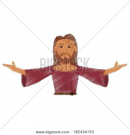 drawing jesus christ salvation devotion design vector illustration eps 10