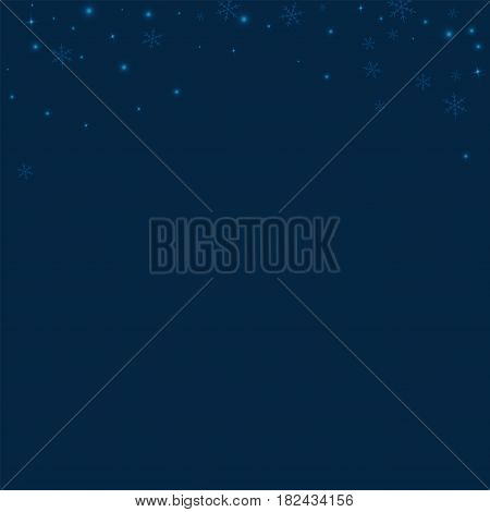 Sparse Glowing Snow. Abstract Top Border On Deep Blue Background. Vector Illustration.