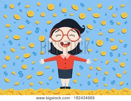 vector illustration of young business woman standing under the money rain on blue background