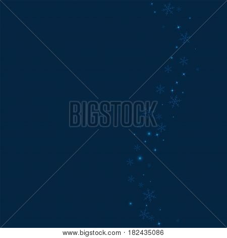 Sparse Glowing Snow. Right Wave With Sparse Glowing Snow On Deep Blue Background. Vector Illustratio