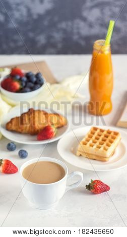 Morning Coffee Mug With Croissant, Viennese Wafer, Juice And Fresh Berries, Cozy And Tasty Breakfast