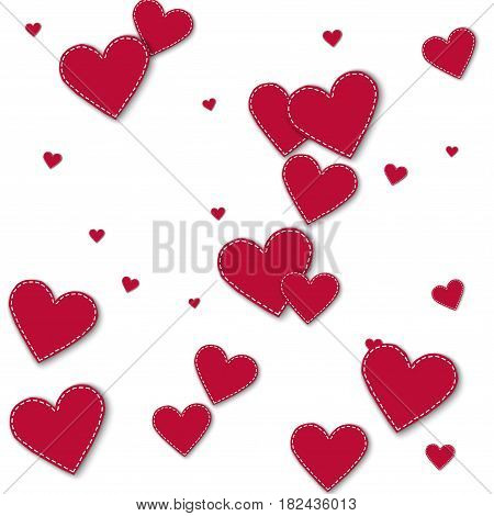 Red Stitched Paper Hearts. Scatter Vertical Lines On White Background. Vector Illustration.