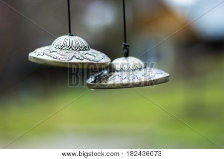 pair of small cymbals, manjira, indian musical instrument.