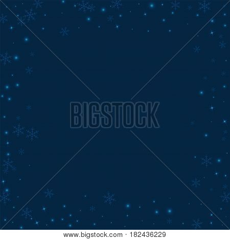 Sparse Glowing Snow. Chaotic Border With Sparse Glowing Snow On Deep Blue Background. Vector Illustr