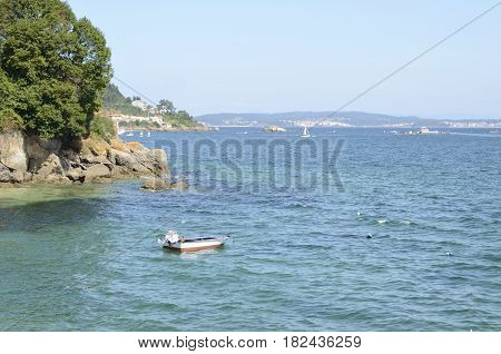 Boat in the coast of Bueu in the province of Pontevedra Galicia Spain.