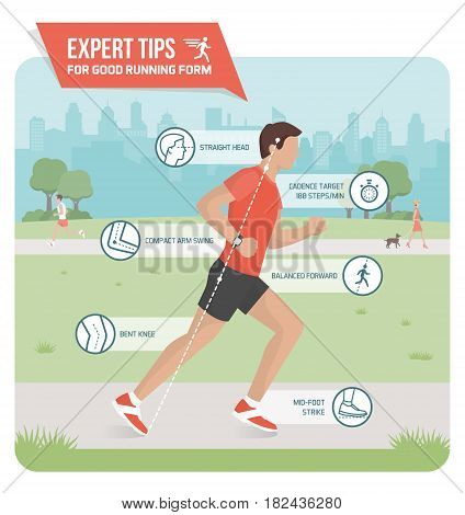 Proper running form and sports ergonomics infographic: athlete running outdoors and expert tips to improve your running technique