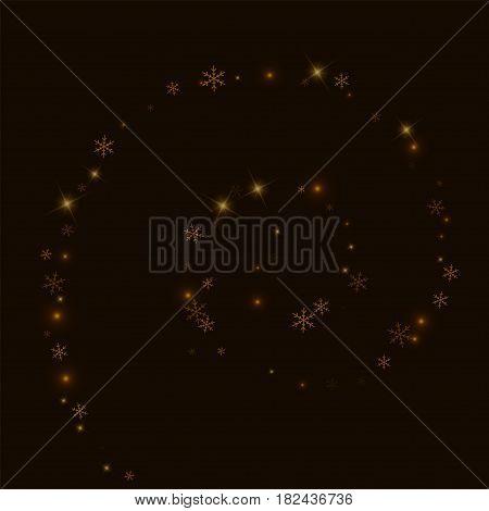 Sparse Starry Snow. Spiral On Black Background. Vector Illustration.