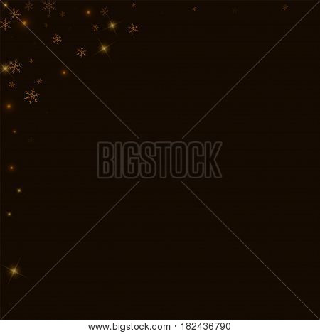 Sparse Starry Snow. Abstract Left Top Corner On Black Background. Vector Illustration.