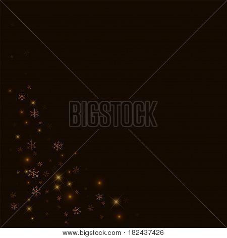 Sparse Starry Snow. Bottom Left Corner On Black Background. Vector Illustration.