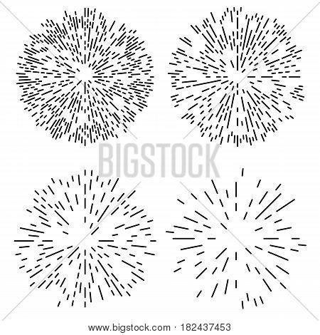 Starburst or Sunburst Abstract Design Elements Set. Vector illustration isolated on white.