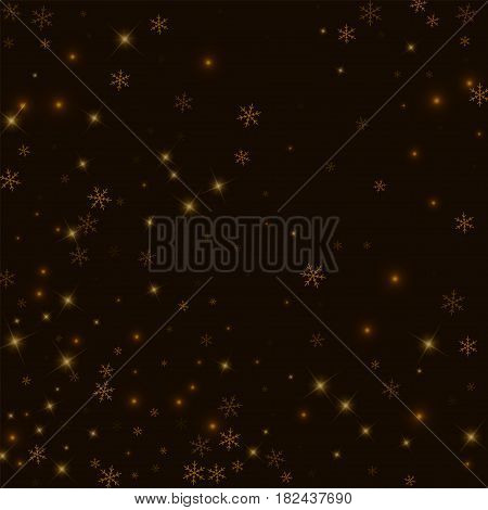 Sparse Starry Snow. Abstract Pattern On Black Background. Vector Illustration.