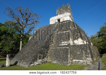 Pyramid (Temple II) in the ancient Maya City of Tikal in Guatemala Central America