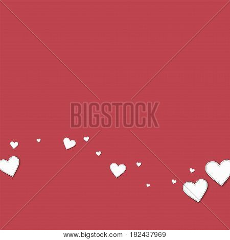 Cutout Paper Hearts. Bottom Wave On Crimson Background. Vector Illustration.
