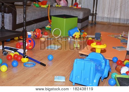 A mess in the children's room. Abstraction of childhood