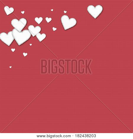Cutout Paper Hearts. Top Left Corner On Crimson Background. Vector Illustration.