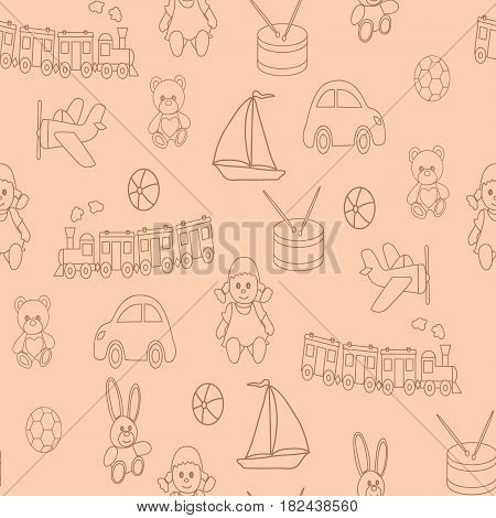 Seamless pattern with children's toys. A vector picture for design with a doll, a ball, a bear, a hare, the engine, the car, the reel, the boat.