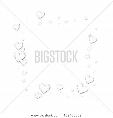 Beautiful White Paper Hearts. Square Abstract Mess On White Background. Vector Illustration.