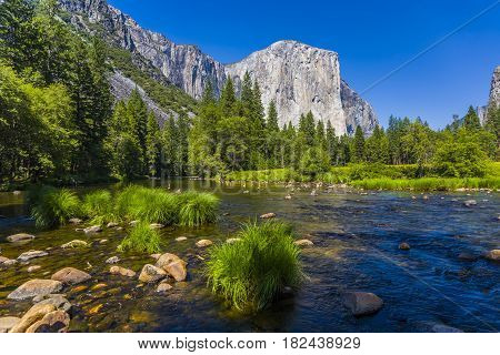 Western Rocket Plateau Of Yosemite National Park With Merced River