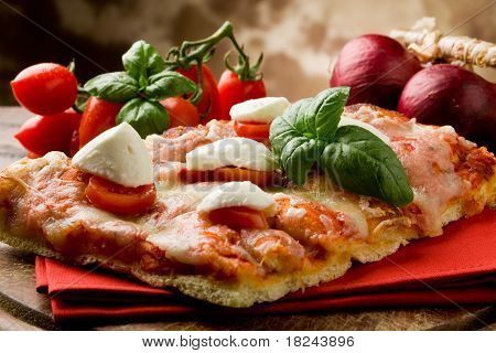 Pizza With Cherry Tomatoes And Buffalo Mozzarella