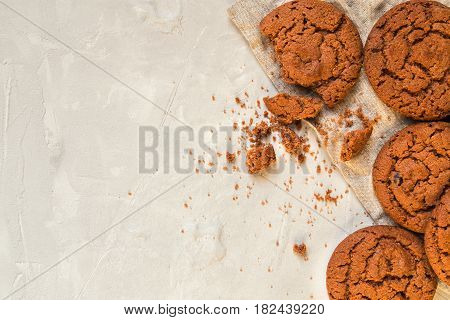 Cookies on white concrete background. Copy space area.