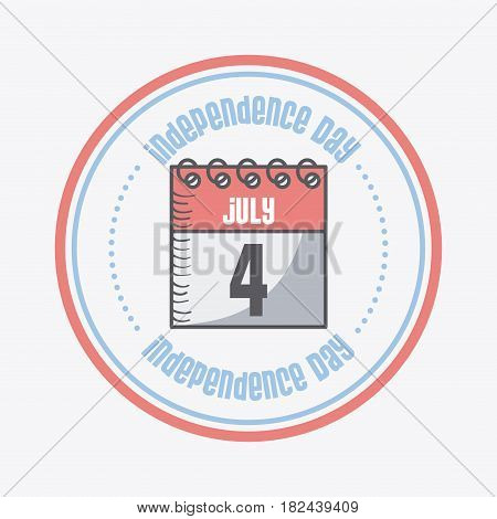 seal stamp with calendar icon over white background. usa indepence day concept. colorful design. vector illustration