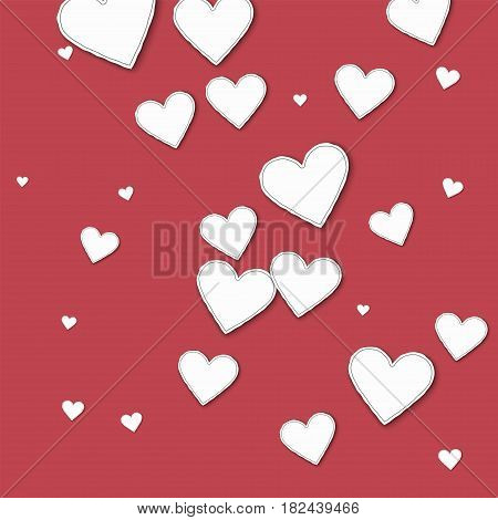 Random Paper Hearts. Chaotic Scatter Lines On Crimson Background. Vector Illustration.