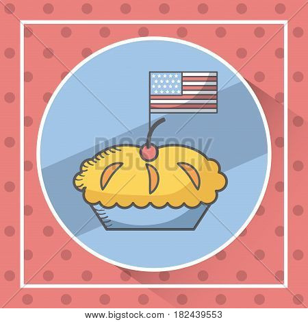 seal stamp with pie with usa flag icon over red background. usa indepence day concept. colorful design. vector illustration