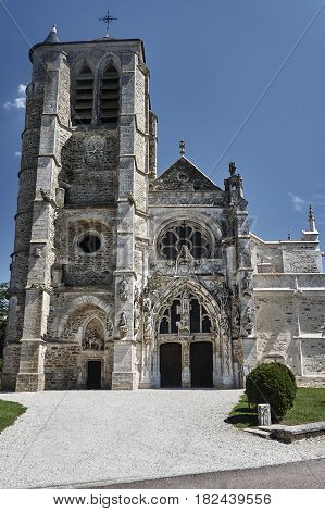 medieval gothic church in Rumilly-les-Vaudes in France